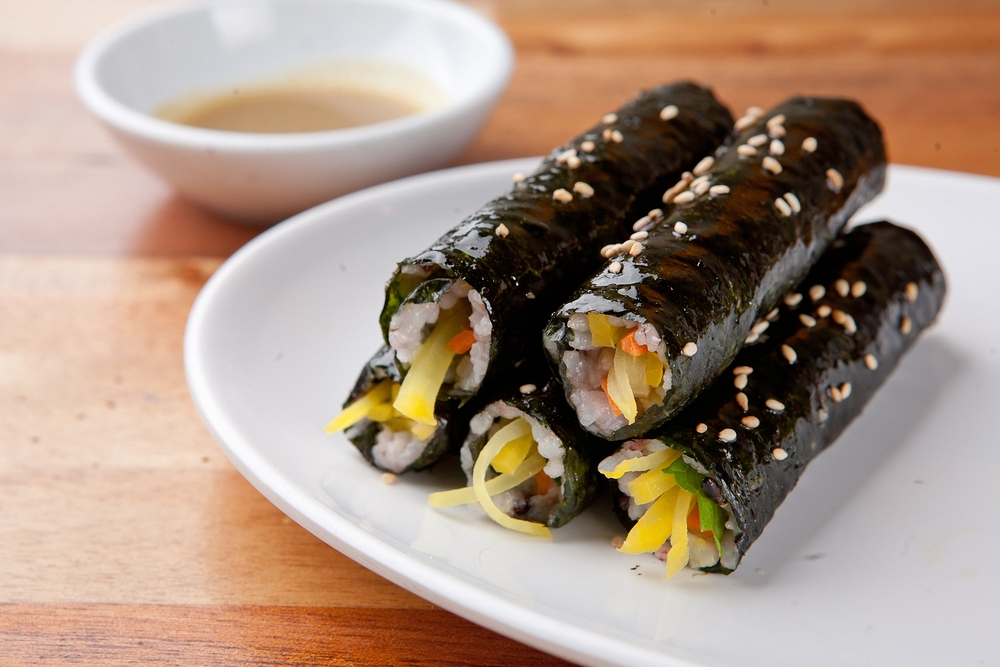 Photo of korean seaweed and rice roll named Kimbap